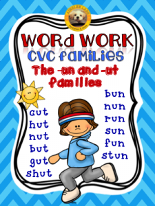Word Work CVC families (un and ut)